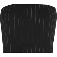 Mugler Pinstriped wool-blend twill bustier top (12.990 CZK) ❤ liked on Polyvore featuring tops, crop tops, blusas, shirts, crop top, bustier tops, strapless top, black and white crop top and pinstripe shirt