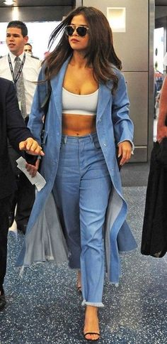 Selena Gomes. High Fashion Look. #selenagomez #denim #fashion #jeans #outfit #style #hair #coat #bra #look #ootd #mylook #fallfashion #lookoftheday #currentlywearing #wearitloveit #getthelook #todaysdetails
