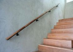 Best Modern Simple Sleek Wall Mounted Wooden Handrails Stairs 400 x 300