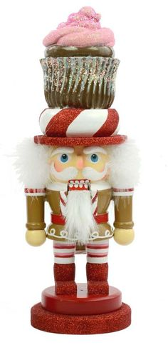 "So cute, I had to buy it - Kurt Adler 12"" Hollywood Gingerbread Chubby Cupcake Hat Nutcracker"