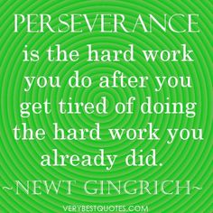 Perseverance is the hard work you do after you get tired of doing the hard work you already did.  ~Newt Gingrich