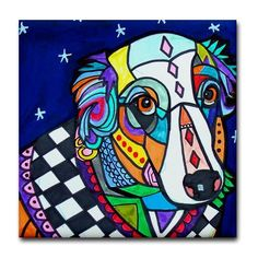 Australian Shepherd Dog Art Tile Coaster Ceramic Tile Angel Dog Red Blue GALLER
