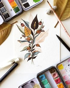 "Gefällt 1,584 Mal, 28 Kommentare - Simela Petridis (@pizzlepaints) auf Instagram: ""#itsokayhaveabouquet An autumnal, leafy beauty to get back into the painting swing of things.…"""