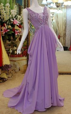 Purple Chiffon Evening Dress with Crystals