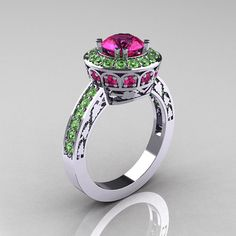Classic 14K White Gold 1.0 Carat Pink Sapphire Green Topaz Wedding Ring, Engagement Ring R199-14KWGGTPS