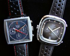 Heuer Monaco and Silverstone by montanaman1, via Flickr
