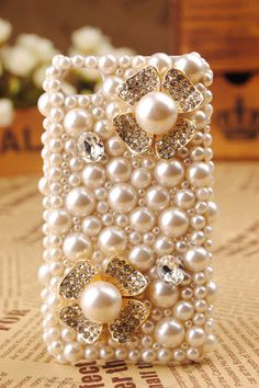 pearl iPhone studded iPhone 4s wallet iPhone 5 by iphonecasedesign, $20.00