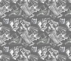 Alice Toile (White on Grey) fabric by mrs_scuffer on Spoonflower - custom fabric Grey Fabric, Wall Fabric, Custom Fabric, Spoonflower, City Photo, Toile, Gray Fabric