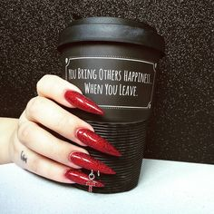 "Gothnails (@gothnails) no Instagram: ""Red glitter stilettos give me life. Also this coffee cup (it's from @attitude_clothing). #gothnails…"""