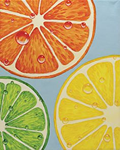 """Social Artworking Canvas Painting Design - Slices of Citrus Citrus fruits and colors are the perfect addition to summer decor. These fruit slices look so refreshing that, when you paint it while sipping a tall glass of lemonade, those hot afternoon days will just roll by.  CANVAS SIZE:  16"""" x 20""""  TIME TO PAINT:  approximately 3 hours"""