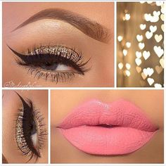 Beautiful glitter look paired with the perfect lipstick