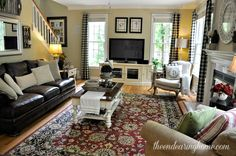 Family Room - The Endearing Home - a dark brown couch that doesn't overwhelm the room