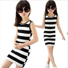 Cheap dresses for girls, Buy Quality fashion kids dress directly from China kids dress Suppliers: Vest Dresses For Girls Summer Girls Clothes Fashion Children Clothing Cotton Striped Kids Dress Casual Child Princess Sundress Fashion Kids, Girls Fashion Clothes, Little Girl Fashion, Fashion Outfits, Latest Fashion, Fashion Images, Spring Fashion, Style Fashion, Fashion Trends