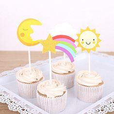 Maydolbone 24pcs Baiyun Meteor Moon Little Sun Muffin Cupcake Toppers- birthday or baby shower Food Picks Decor And Cupcake Party Pick