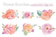 These cute watercolor flower bunches come pre-arranged and ready to be put to use in your next project. Images measure at least 1000px wide at 300DPI quality. Included are the 6 bunches