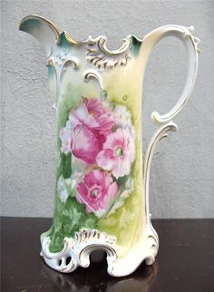 "OUTSTANDING 11 5/8"" TALL RS PRUSSIA PORCELAIN PITCHER TANKARD ORNATE POPPIES"