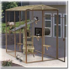 Cool Pet Ideas - Bing Images...nice outdoor cat tower/cage that has an entryway from the home