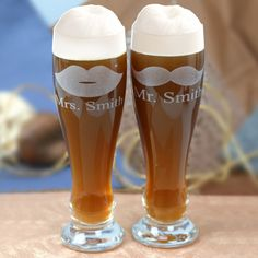 Personalized His & Her Pilsner Glasses Set of Two - Monogram Online