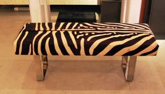 MODERNIST PETIT BENCH (SHOWN IN FAUX ZEBRA WITH POLISHED BRASS LEGS)