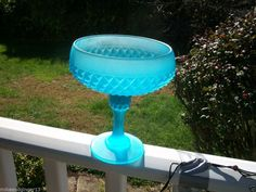 VINTAGE INDIANA GLASS COMPOTE/CANDY DISH DIAMOND PATTERN CIR. 1950'S FROST BLUE