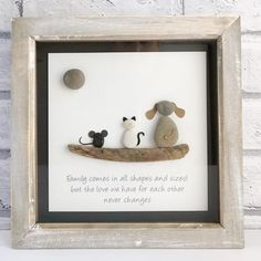 Your place to buy and sell all things handmade Rustic Wooden Box, Rustic Frames, Pebble Pictures, Stone Pictures, Pebble Art Family, Sewing Cards, Picture Gifts, Pebble Painting, Driftwood Art