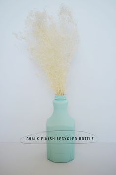 diy: chalk finish recycled bottle