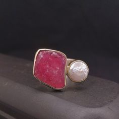 Red Ruby and White Pearl Ring, Handmade Sterling Silver and Gold Ring with Raw Ruby and Freshwater Pearl, Dual Gemstone Ring Gift for Her Pearl Ring, Gold Ring, Open Ring, Handmade Sterling Silver, Pearl White, Band Rings, Gifts For Her, Gemstone Rings, Jewelry Making