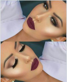Light nude purple eye shadow n dark purple lip