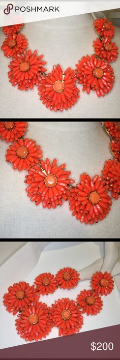 """Kate Spade Coral Statement Necklace $295 Kate Spade New York Gerbera Garden Statement necklace.  12-karat yellow gold-plated zinc, Coral resin beads form daisies, White grosgrain ribbon; adjustable tie closure. Approx. length tip-to-tip: 56"""". Approx. width: 2"""". Handcrafted. kate spade Jewelry Necklaces"""