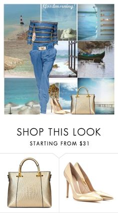 """""""Denim and Gold"""" by shaneeeee ❤ liked on Polyvore featuring Balmain, Gianvito Rossi, women's clothing, women's fashion, women, female, woman, misses and juniors"""