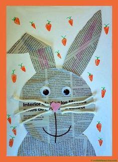 Spring Crafts For Kids, Art For Kids, Newspaper Crafts, Easter Art, Bunny Crafts, Classroom Crafts, Easter Activities, Elementary Art, Toddler Crafts