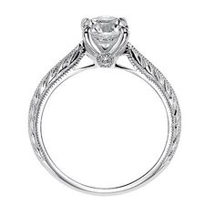 """Picture of Artcarved """"Imani"""" Diamond Solitaire Four Prong Engagement Ring Featuring a Knife Edge Engraved Shank with Milgrain Edges"""
