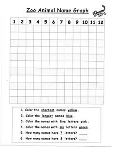 """Graphing practice with a """"zoo animal"""" theme! Students record zoo animal names onto the grid and then follow the directions on this recording page. A list of animals and their spellings is included as well as the large easy to use grid for younger learners."""