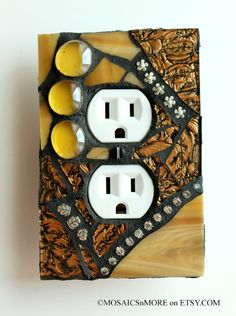 Golden Glamour  -  Mosaic DUPLEX OUTLET Wall Plate Cover