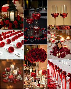 Red Rose Wedding, Gold Wedding Theme, Burgundy Wedding, Wedding Table, Dream Wedding, Wedding Themes Red, Red Wedding Receptions, Black Red Wedding, Geek Wedding