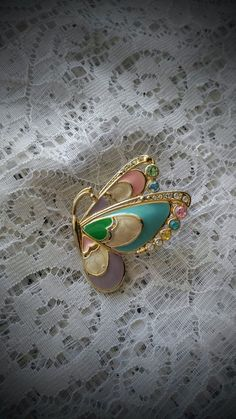 Vintage Enamel And Rhinestone Butterfly Brooch | Jewelry & Watches, Vintage & Antique Jewelry, Costume | eBay!