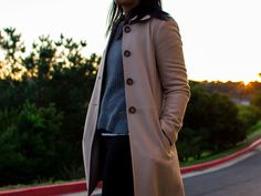 Camel wool coat | grey sweater | striped shirt | black zipper ankle jeans | red sneakers | www.shoppingmycloset.com      @bananarepublic #bananarepublic @toms #toms @jcpenney #jcpenney @loft #loft @nike #nike