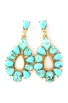 Perfect for my white sundress and cowgirl boots!    Turquoise Mother of Pearl Sadie Earrings | Emma Stine Jewelry Earrings