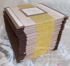 Brown and gold glitter wedding invitations by www.tangodesign.com.au #brownweddinginvitations #brownglitterinvitations #traditionalinvitations