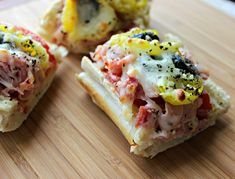 Italian Sub French Bread Pizza from www.reneeskitchenadventures.com The marriage of the flavors of an Italian sub in pizza form. Fun! #appetizers #pizza #fun