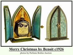 Merry Christmas by Benoit: launched in black glass bottle w/ gilded figural stopper of woman holding child. Front of bottle has gilded Nativity scene. Bottle was designed and made by Maurice Depinoix tall. Black Perfume, Perfume Scents, Vintage Perfume Bottles, Bottle Art, Black Glass, Glass Bottles, Vintage Black, Glass Art, Merry Christmas
