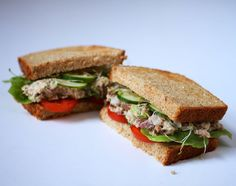 Sardine salad sandwich - I actually like this better on crackers than bread. Would be great to make ahead and carry for lunch.