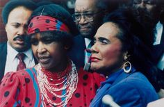 Winnie Mandela, left, wife of jailed African National Congress leader Nelson Mandela, is seen with Coretta Scott King, widow of American civil rights leader Dr. Martin Luther King, Jr., in Soweto in 1986. Photo: GREG ENGLISH, Wire / 1986 AP