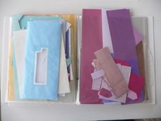 store paper scraps in a presentation folder...why didn't I think of that?