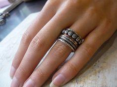 Boho ring silver ring spinner ring wide ring by artisanlook