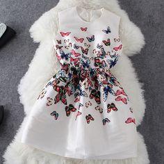 Butterfly print sleeveless dress AX072801AX