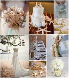 Seaside Allure Starfish Beach Wedding Ideas from HotRef.com Using starfish to decor wedding cake, wedding bouquet, wedding centerpiece, sitting chair and more #beachwedding #weddingideas #starfishwedding