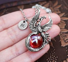 Phoenix Necklace Initial Necklace Red Jewelry Bird by MetalSpeak Phoenix Jewelry, Phoenix Necklace, Bird Necklace, Monogram Necklace, Red Jewelry, Jewelery, Initials, Silver Rings, Bling