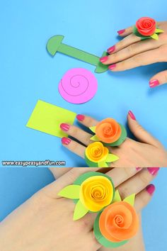 If you liked our previous paper rings or rolled paper flower ideas, you are going to love these adorable flower paper rings. If you liked our previous paper rings or rolled paper flower ideas, you are going to love these adorable flower paper rings. Paper Flowers Craft, Paper Crafts Origami, Paper Crafts For Kids, Preschool Crafts, Flower Paper, Fun Crafts, Craft With Paper, How To Make Flowers Out Of Paper, Kids Craft Projects