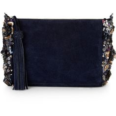 Complement your party dress with this sequin-embellished leather Faiza pouch.  Complete with a zip-across top with fringing, this piece has a fuss-free interio…
